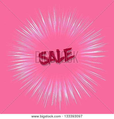 Vector sale template in retro style on pink background. Sale teplate with fireworks effect. Template with red color. Sale card template for various use especially for discount events.