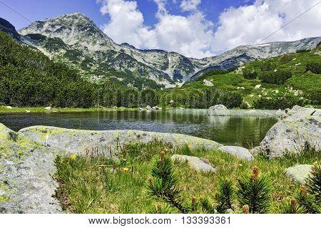 Amazing view of Muratov peak and river in Pirin Mountain, Bulgaria