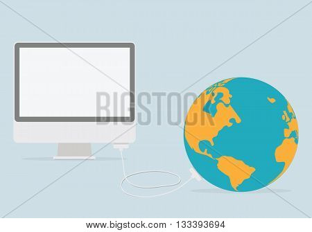 Internet concept: pc and globus. Vector web illustration