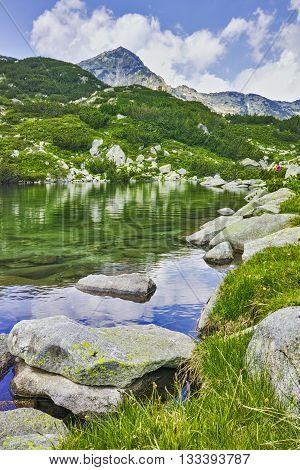 Amazing landscape of Muratov peak and mountain river in Pirin Mountain, Bulgaria