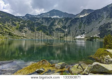 Panoramic view of Banderishki Chukar Peak and The Fish Lake, Pirin Mountain, Bulgaria