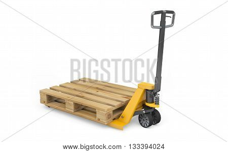 Pallet jack with wooden pallet isolated on white with clipping path. 3d rendering