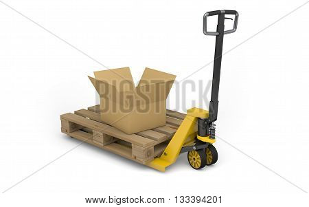 Pallet jack with pallet and cardboard box isolated on white. 3d rendering