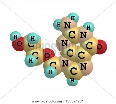 Acyclovir - INN BAN aciclovir - is a guanosine analogue antiviral medication. It is primarily used for the treatment of herpes simplex virus infections chickenpox and shingles. 3d illustration