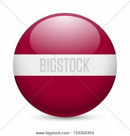 Flag of Latvia as round glossy icon. Button with Latvian flag