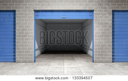 Empty open door self storage unit . 3d rendering