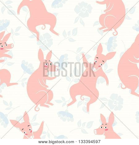 Funny pigs. vector seamless pattern with cute pigs on floral background