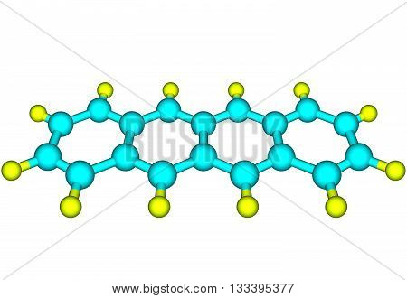 Tetracene also called naphthacene is a polycyclic aromatic hydrocarbon. It has the appearance of a pale orange powder. Tetracene is the four-ringed member of the series of acenes. 3d illustration