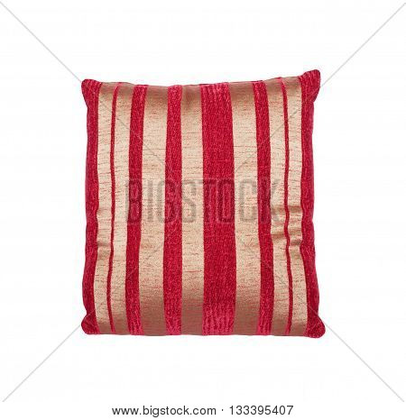 square colorful striped cushion and red cushion isolated on white