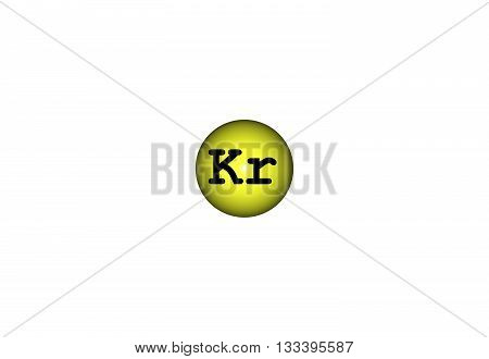 Krypton is a chemical element with atomic number 36. It is a member of group of noble gases. A colorless odorless tasteless. 3d illustration