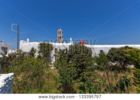 Frontal view of Panagia Tourliani monastery inTown of Ano Mera, island of Mykonos, Cyclades, Greece