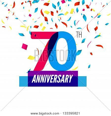 Anniversary design. 70th icon anniversary. Colorful overlapping design with colorful confetti.
