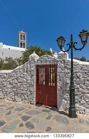 Panoramic view of Panagia Tourliani monastery in Town of Ano Mera, island of Mykonos, Cyclades, Greece