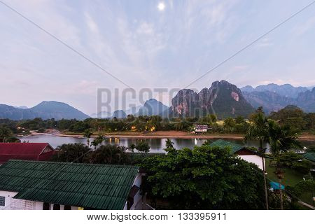 Sunrise at Song river Vang Vieng Laos
