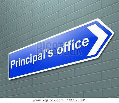 Illustration depicting a sign with a principal's office concept.