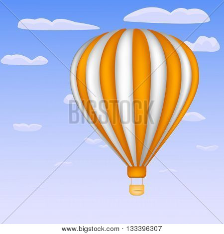 Balloon on the sky background with white and orange stripes
