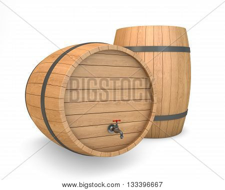 Wooden Barrel with faucet isolated with clipping path. 3d rendering