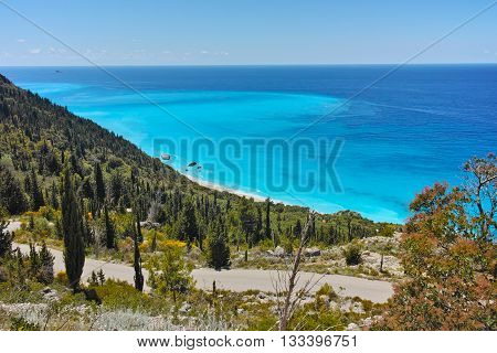 Amazing Panoramic Seascape with blue waters at Lefkada, Ionian Islands, Greece