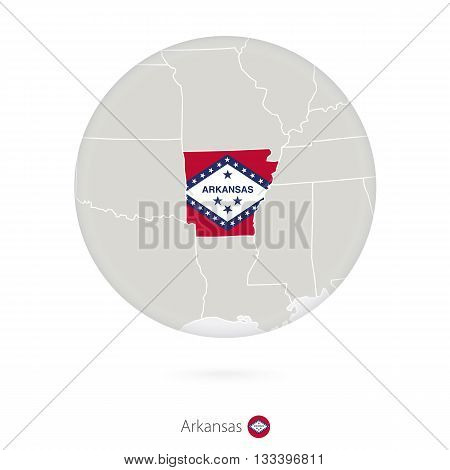 Map Of Arkansas State And Flag In A Circle.