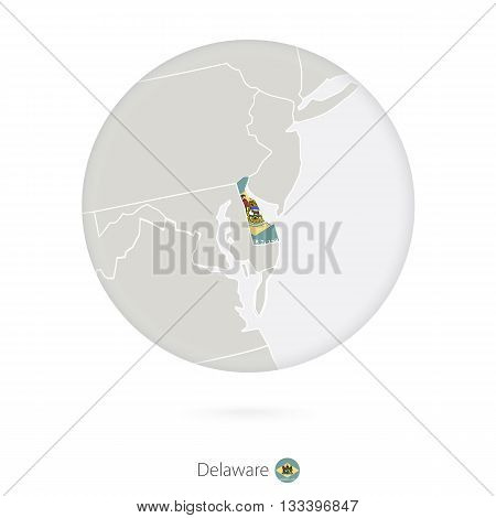 Map Of Delaware State And Flag In A Circle.