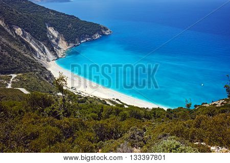 Panoramic view of Myrtos Beach, Kefalonia, Ionian Islands, Greece