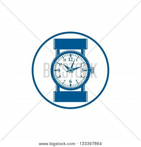 Simple wristwatch graphic illustration classic hour hand symbol. Time management idea design element.