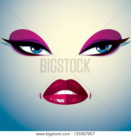 Parts of the face of young beautiful lady with bright make-up lips and eyes.