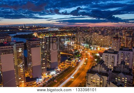 Night Kiev city view panorama of modern bulding Kiev Ukraine