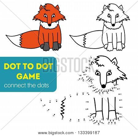 Dot to dot children game. Coloring and dot to dot educational game for kids. Cartoon character. Funny fox