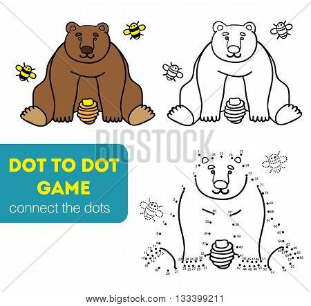 Dot to dot children game. Coloring and dot to dot educational game for kids. Cartoon character. Funny bear