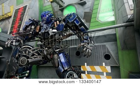 SINGAPORE MAY 29 2016: Optimus Prime Robot Model to promote TRANSFORMERS The Ride at Universal Studio