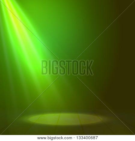 Floodlight spotlight illuminates wooden scene. Vector illustration