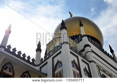 SINGAPORE - 05 JUN 2015: Day view of the iconic Sultan Mosque It is located at the heart of Kampong Glam Malay Heritage District in Singapore.