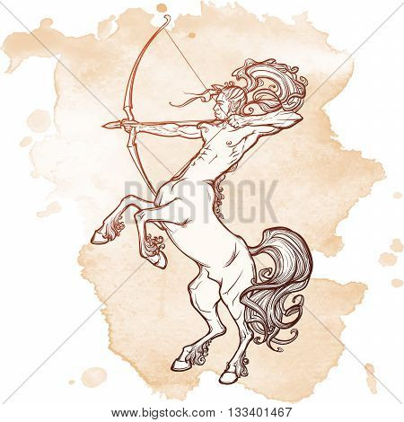 Rearing Centaur holding bow and arrow. Boho style look. Vintage style illystration. Vintage tattoo design. EPS10 vector illustration
