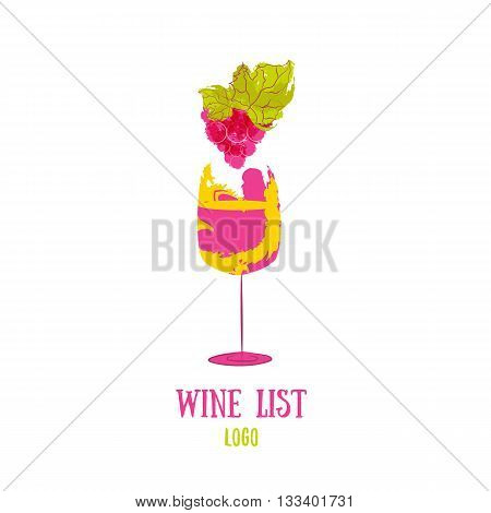 Bottle wine and grapes logo Vector with color splash. Logo design template. Concept for wine products, harvest, wine list, menu