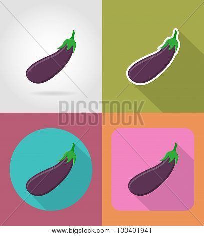 eggplant vegetable flat icons with the shadow vector illustration isolated on background