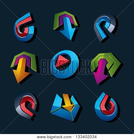 3d vector abstract geometric abstract arrows for use as navigation pictograms and app buttons.