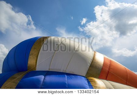 Detail of a colorful hot air balloon.