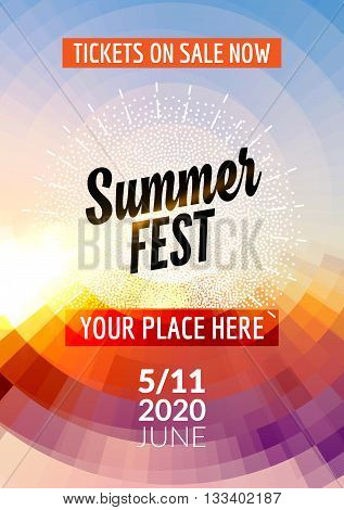 Summer festival flyer design template. Summer poster flyer template colorful design.