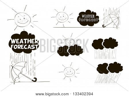 freehand drawing; cloud; cloud; rain; sun; weather; weather map; weather icons; weather; weather forecast; meteorologist; meteorology; umbrella