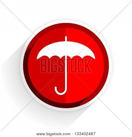 umbrella icon, red circle flat design internet button, web and mobile app illustration
