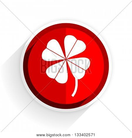 four-leaf clover icon, red circle flat design internet button, web and mobile app illustration