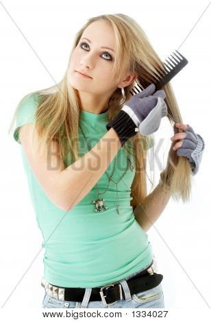 Hair Combing Teenager Girl