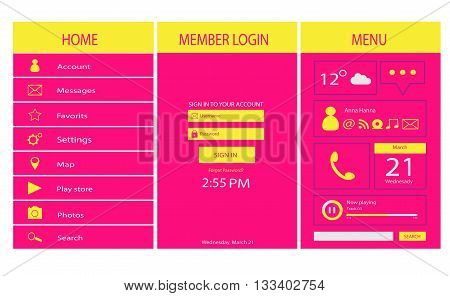 mobile and web interface pink and yellow