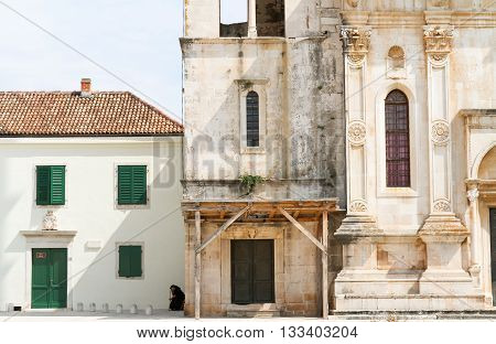 Old buildings in the main square in Hvar town, Hvar Island, Croatia