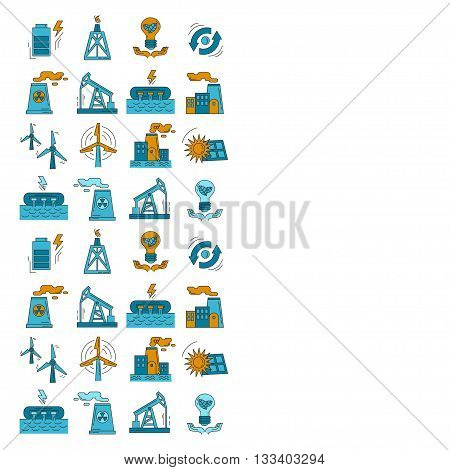 Energy Ecology and Pollution Vector set of icons Linear design
