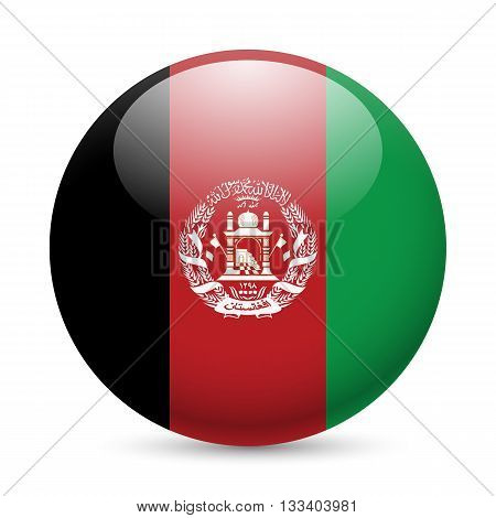 Flag of Afghanistan as round glossy icon. Button with Afghan flag
