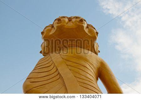 Bird eye view behind eight head Buddha.