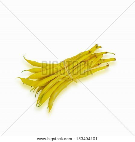 Yellow string beans isolated on white. Ecoproduct.