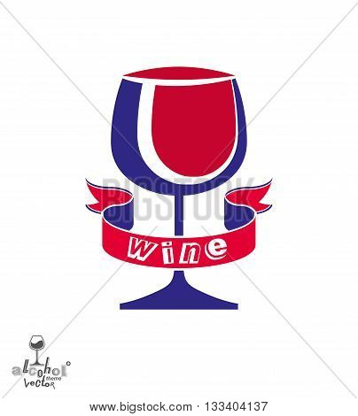 Stylized classic vector goblet with splash and red creative ribbon party and celebration theme decorative illustration. Lifestyle graphic design element - entertainment idea.